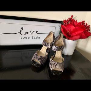 Joan & David snakeskin open toe heels